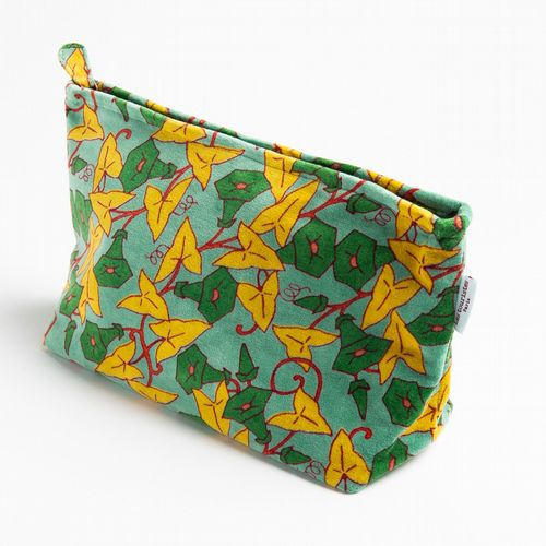 Printed Cotton Velvet - Washbag - Morning Glory